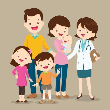 Linda familia visitando al doctor. La ilustración del vector de un papá, una mamá, una hija, un hijo y un bebé encuentra al doctor.
