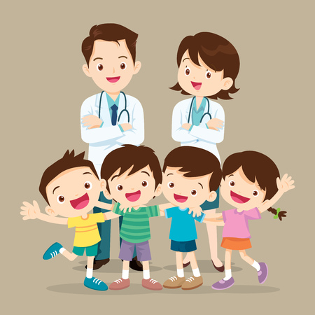 Nice Doctor and lovely kids.Doctor man,woman and child Hugging be Happy. Vectores