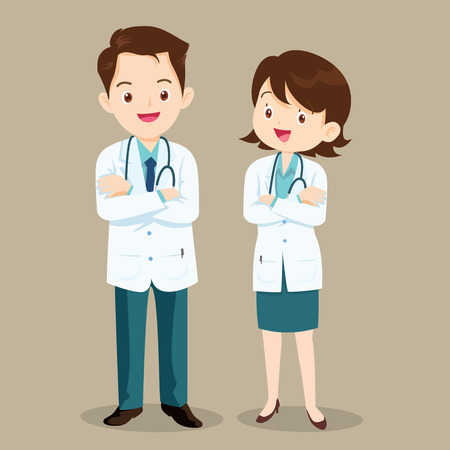 Smart doctor presenting in various action. character design.set of doctor character at hospital. health care.