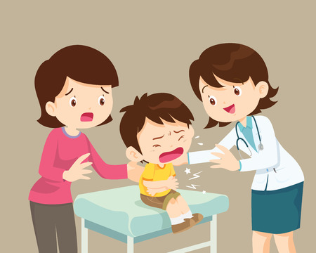 Female Doctor and Mother Comforting Her Patient boy. Healthcare for children. Pediatrician in the Clinic Illustration