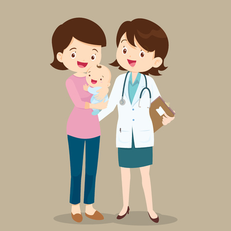 Mom with Baby and Paediatrician.Doctor standing with Mother and cute baby. Illustration