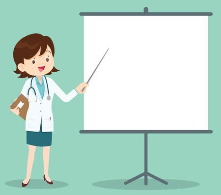 Medico con appunti dando presentazione medica. Vettoriali