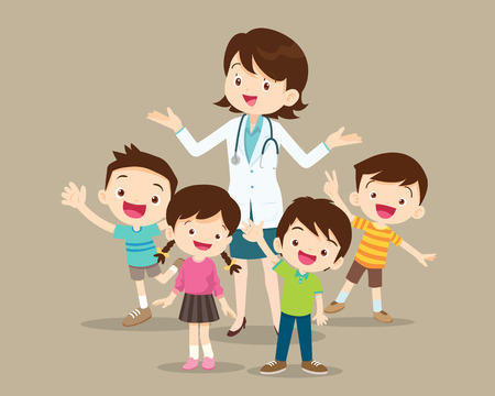 Doctor and kids.Children Clinging on to a Pediatrician.Boy and Girl Be happy Around the smart doctor. Ilustração Vetorial