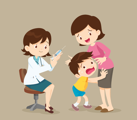 The child is afraid of injection. Caring for immunity. Healthcare.Scared Little Boy About to Have an Injection. Doctor take vaccine for kid. Illustration