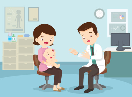 Family to see Doctor sitting at the table in hospital, infirmary, clinic.healthcare concept.Character professional physician on workplace illustration.Mother and her baby with doctor. Illustration