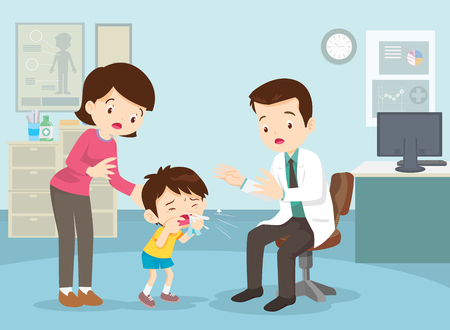 Mom and Boy to see Doctor sitting at the table in hospital, infirmary, clinic.healthcare concept.Character professional physician on workplace illustration.Mother and her son with doctor. Vettoriali