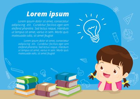 Meisje denken idee en boeken. Het leuke jonge geitje veronderstelt in klaslokaal met ruimte voor uw tekst. Onderwijs concept met boeken achtergrond sjabloon. Voor webbanner, achtergrond, advertentie, promotie poster.