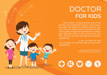 Doctor and children healthcare background poster. Doctor for kids Banner,layout template,cover,ad poster. Illustration