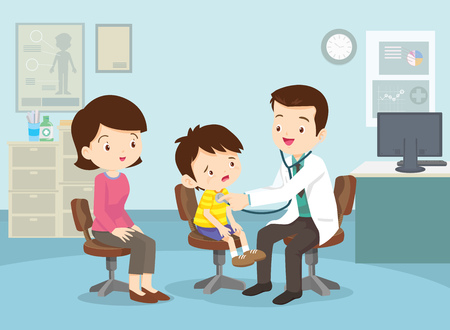 Mom and Boy to see Doctor sitting at the table in hospital, infirmary, clinic. Healthcare concept. Character professional physician on workplace illustration. Mother and her son with doctor.