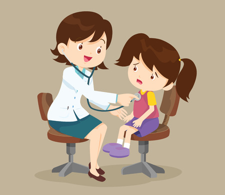 Doctor listening to chest of patient with stethoscope.Mom and Girl to see Doctor sitting at the table in hospital, infirmary, clinic.healthcare concept.