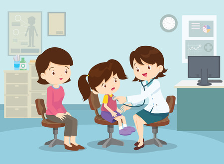 Healthcare concept. Mother and her children with doctor.