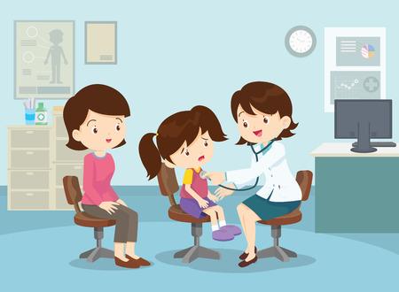 Notion de soins de santé. Mère et ses enfants avec médecin.