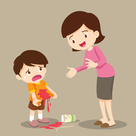 Little boy are stained at the shirt.accident beverage.boy stained at the shirt with mom forgive. Ilustração