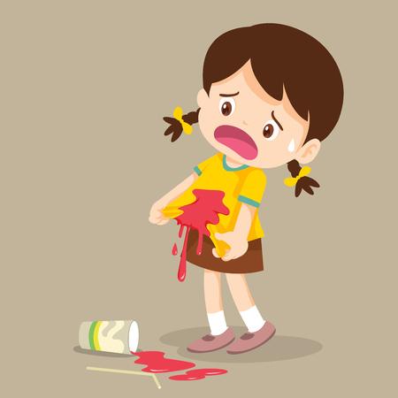 La niña está manchada en la camiseta. Bebida accidental. Gota en la camiseta. Ilustración de vector