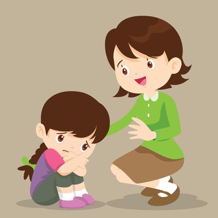 sad children wants to embrace.Teacher Comforting Upset Elementary School Pupil.teacher comforting crying preschool girl.