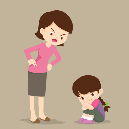 mother is scolding her daughter and the girl cry so sad Illustration