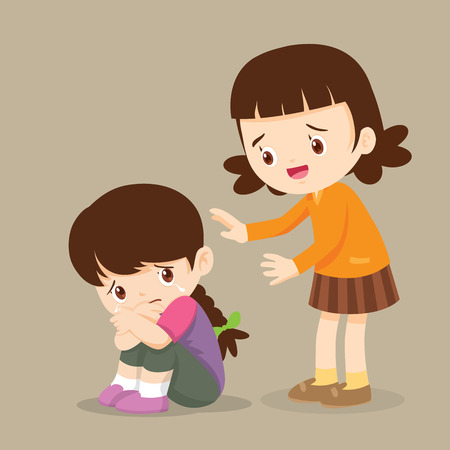 Cute Girl Comforting Her Crying Friend.Children Consoling cry isolate background