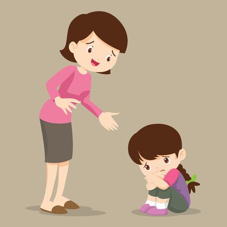 niños tristes quiere abrazar.Madre reconfortante malestar elemental a su hija.Mamá reconfortante niña triste