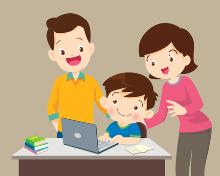 Children working laptop ,Family be happy for something of children Girl with laptop