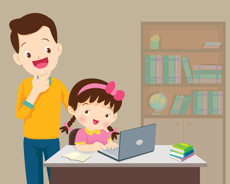 Children working laptop,Dad be happy for something of children Girl with laptop.