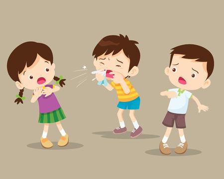L'enfant se mouche. Garçon mignon utilisant un mouchoir en papier pour essuyer la morve de son nez. enfant toux à un ami