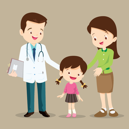 Vector illustration of a mom and girl in doctor's office.Mother and a little girl visiting the doctor.Doctor,children,woman standing and smile.Mother and child daughter visit a family doctor. Vector Illustration