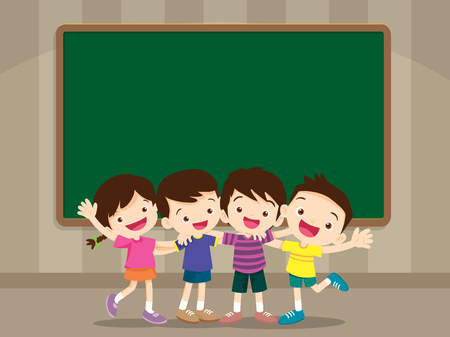 happy smiling pupil hugging friends standing in front of chalkboard.Group of Childern stand hugging.Four pupil boy and girl be happy