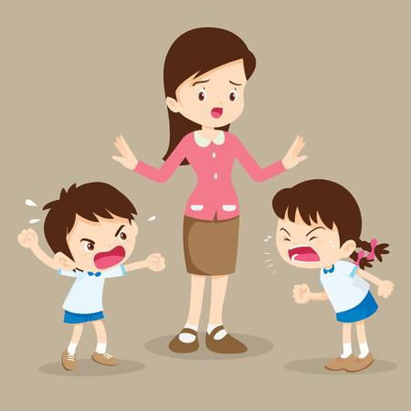 화난 아이.선생님은 아이들이 서로 소리치는 것을 막으려 했습니다.소년과 소녀가 말다툼을 합니다.