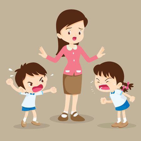 angry child.teacher tried to stop the children shouting to each other.boy and girl arguing. Illustration