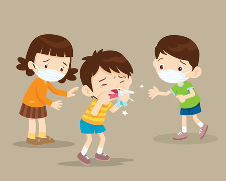 Child blow the nose. Cute boy using tissue to wipe snot from his nose.coughing child to friend