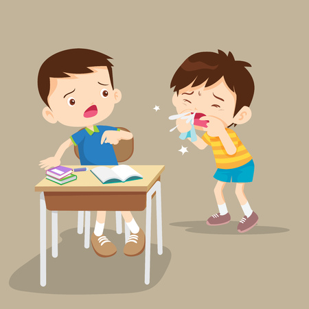 Sick Child blow the nose. Cute boy using tissue to wipe snot from his nose.coughing child to friend in class Vetores
