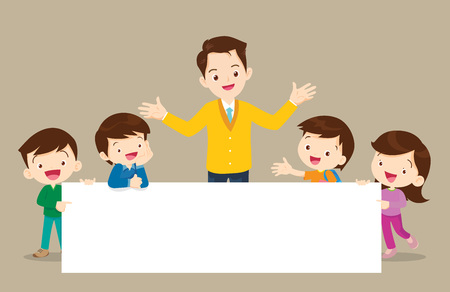 Teacher and children holding blank signs presentation.children and banner.Boy and Girl pointing blank papers illustration.