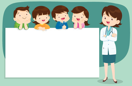 Doctor and children holding blank signs presentation.children and banner.Boy and Girl pointing blank papers illustration.