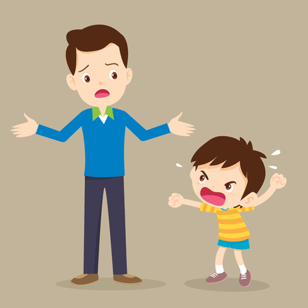 Niño enojado Papá tiene preocupación y Rampage boyl. Niños agresivos.