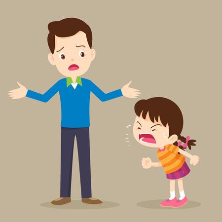 Enfant en colère. Papa s'inquiète et Rampage girl.enfants agressifs. Vecteurs