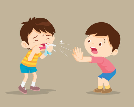 Sick Child blow the nose. Cute boy using tissue to wipe snot from his nose.coughing child to friend