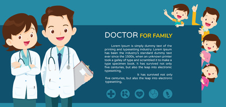 Doctor and family with children healthcare background poster.Doctor for family and kids Banner,layout template,cover,ad.,poster Illustration