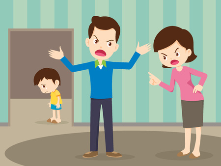 husband and wife quarreling.Parents quarrel and child listen. Family conflict.  Ilustração