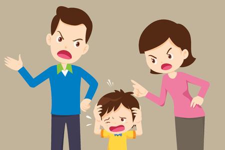 marito e moglie che litigano. I genitori litigano e il bambino ascolta. Conflitto familiare.