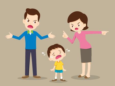 man en vrouw ruzie. Ouders ruzie en kind luisteren. Familieconflict.