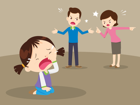 Mann und Frau streiten. Eltern streiten und Kind hören zu. Familienkonflikt. Vektorgrafik