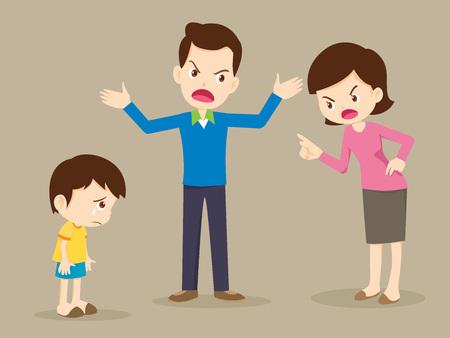 Mann und Frau streiten. Eltern streiten und Kind hören zu. Familienkonflikt.