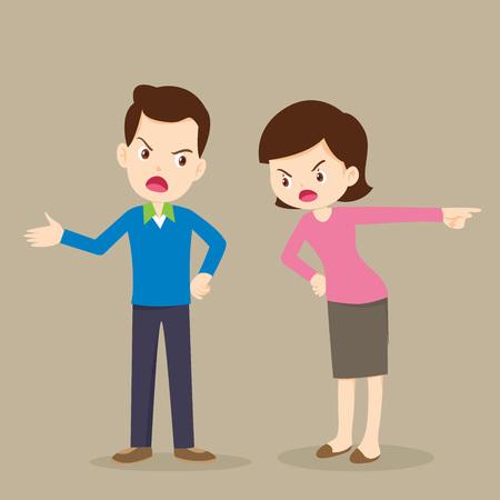 Angry woman and man quarreling.husband and wife quarreling.Parents quarrel