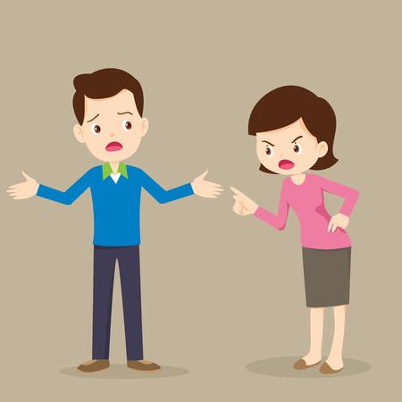 Mujer enojada regaña a personajes masculinos. Marido y mujer peleando. Pelea de padres