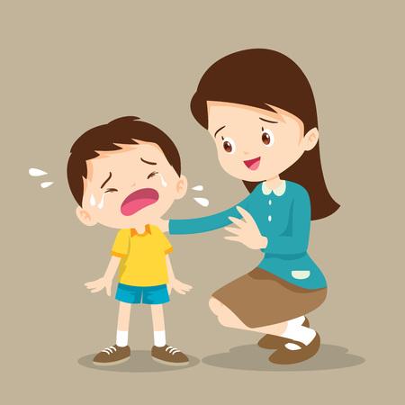 Teacher Comforting Upset Elementary School Pupil.teacher comforting crying preschool boy.sad children wants to embrace