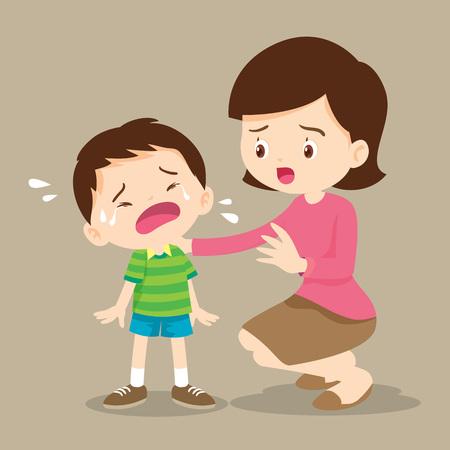 les enfants tristes veulent embrasser.famille Comforting Upset Elementary