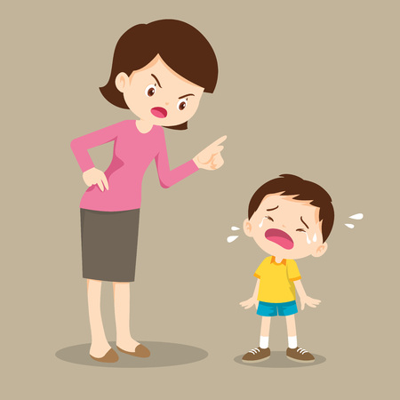 mother is scolding her son and the boy cry so sad.boy feeling guilty