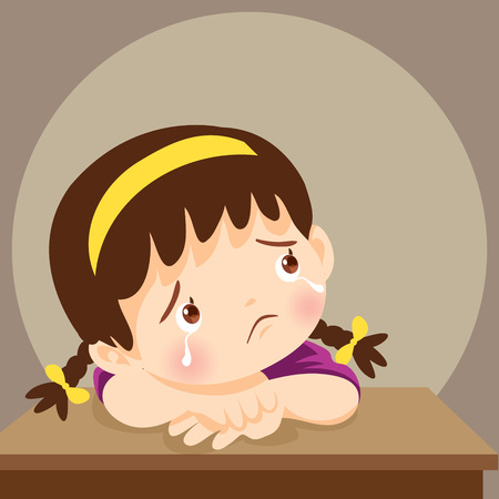 sad children wants to embrace.Depressed girl looking lonely.Illustration of a sad child, helpless, bullying. Girl feeling guilty
