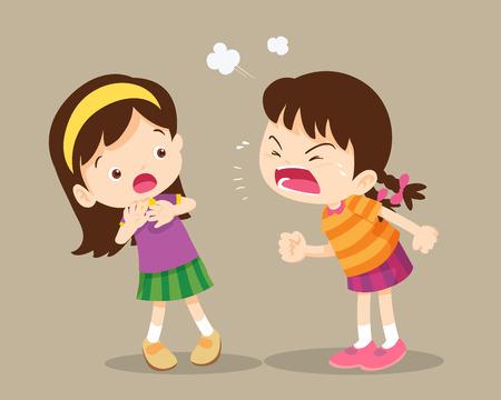 zły dzieci. Kłótnie dzieci. zła dziewczyna krzyczy na friend.Raging kids.children krzyczy do siebie. Ilustracje wektorowe