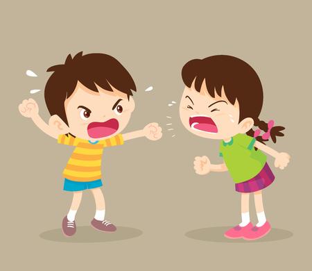 wütendes Kind. Kinder schreien einander zu. Junge und Mädchen streiten.